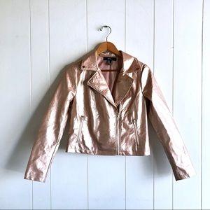 Forever 21 Rose Gold Metallic Pink Moto Jacket